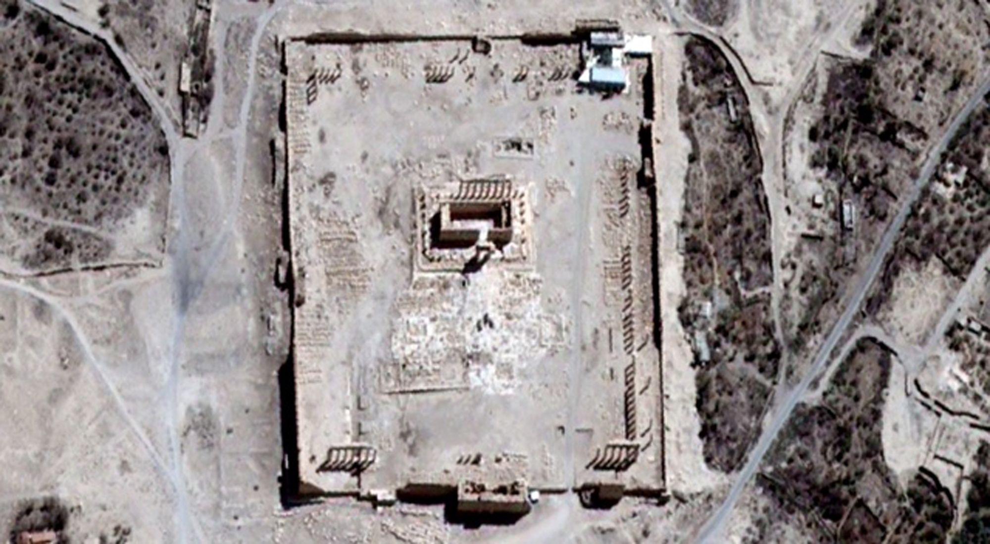 Pérdida invalorable. En la imagen satelital se observa el emblemático templo ante de su destrucción total.
