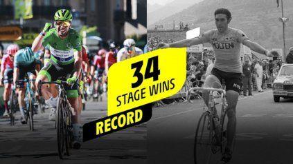 Cavendish empató el récord de todos los tiempos de la leyenda del ciclismo Eddy Merckx al conquistar su 34ª etapa en el Tour.