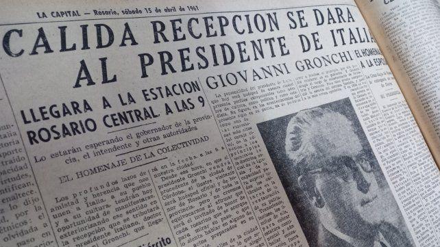 La Capital anoticia de la llegada del tercer presidente de la República Italiana a la ciudad.