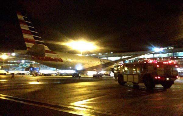 Un susto. La aeronave en el aeropuerto de Eldorado.