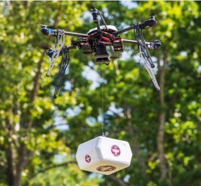 El avión no tripulado viajó a lo largo de un kilómetro para entregar el envío.