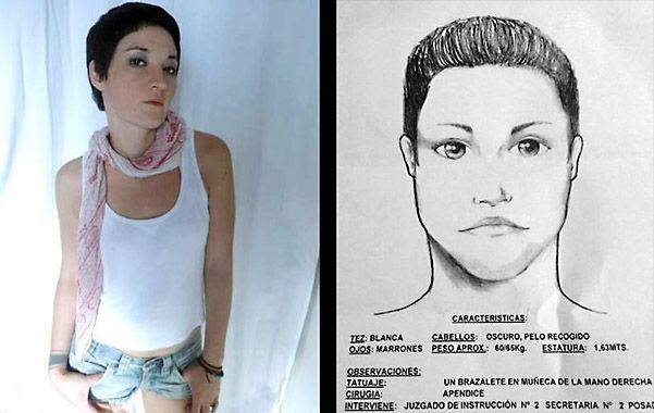 La búsqueda. Una foto de Luciana Ferer y el identikit que hizo la policía de Misiones. Investigan homicidio o suicidio.