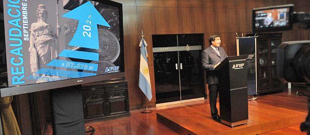 Echegaray señaló que la recaudación de septiembre ascendió a 57.374 millones de pesos.