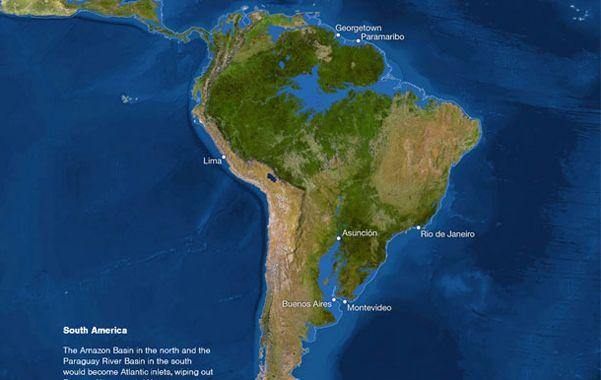 América del sur. El mapa de National Geographic muestra cómo el agua taparía Rosario y Buenos Aires