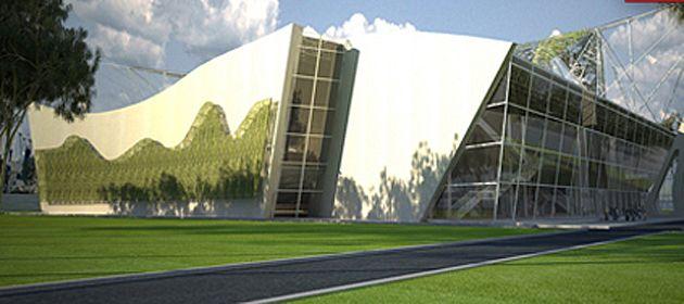Diseño digital del exterior del estadio que se levantaría en Oroño y 27 de Febrero.