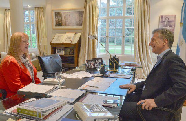 Sintonía. El presidente recibió a la diputada antes de viajar a China.