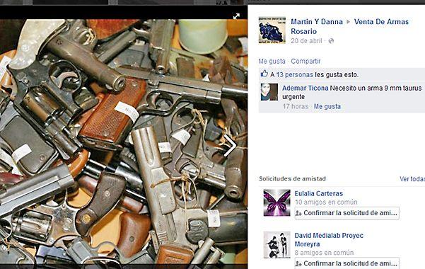 Cuenta congelada. Rosarinos vendían y compraban armas de todo tipo a través de este grupo de Facebook.