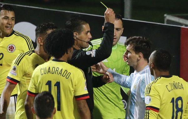 Lionel fue amonestado en el último partido ante Colombia.