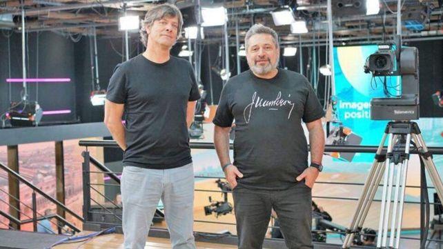 Mario Pergolini en su visita a los estudios de IP junto a Víctor Santa María.