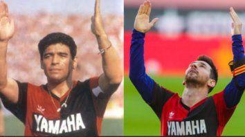 Maradona y Messi, dos astros unidos por la rojinegra.