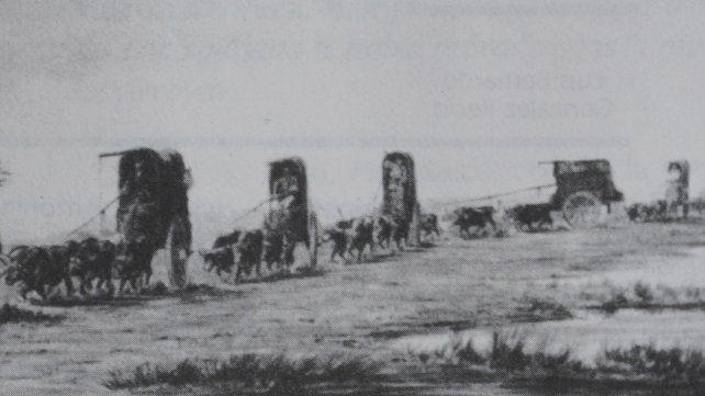 Tropa de carretas. Palliere. Acuarela c. 1858. En Monumenta Iconográphica (Emecé