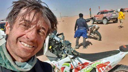El motociclista Pierre Cherpin murió mientras era trasladado a Francia.
