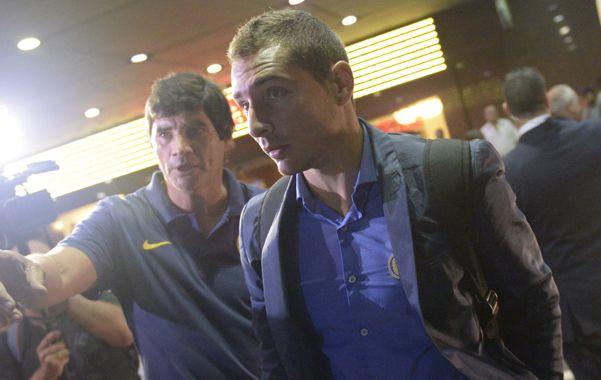 El goleador. Marco Ruben al llegar a Montevideo. Dijo que no le importa si lo marcan de manera especial. (Foto La Capital: H. Rio)