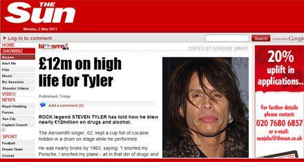 El cantante de Aerosmith gastó 21 millones de dólares en drogas