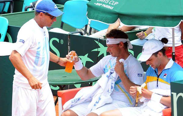 Jaite y Nalbandian durante la disputa de la Copa Davis en febrero