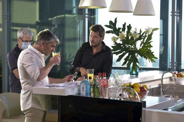 El conductor y Pablo Echarri en la grabación de la apertura del programa.