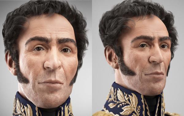 La imagen digitalizada del rostro de Simón Bolivar.