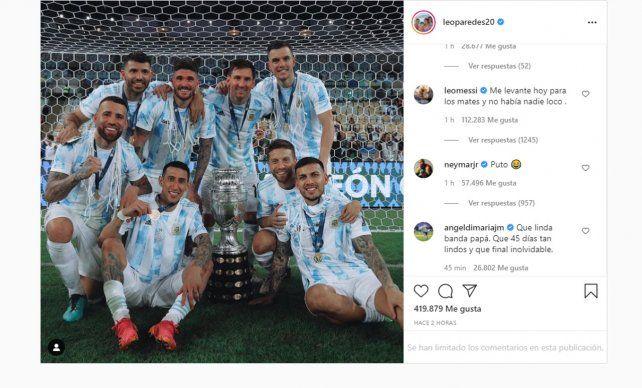 Messi y sus compañeros siguen festejando a la distancia por las redes sociales