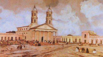 El cuadro La Villa del Rosario en 1840, ilustración histórica de la ciudad.