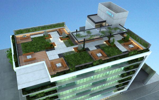 """Lo que viene. En la terraza habrá una """"plaza aérea"""" con césped y árboles. La gente podrá ingresar libremente y allí se habilitará un bar."""