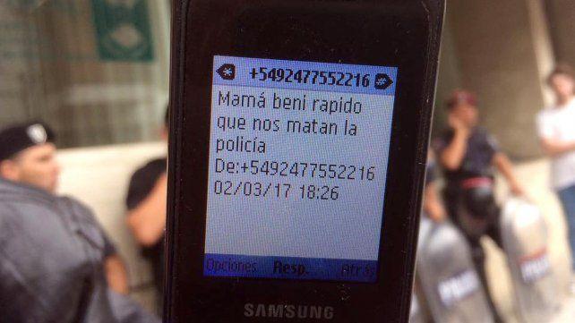 El mensaje que uno de los detenidos le mandó a su madre.