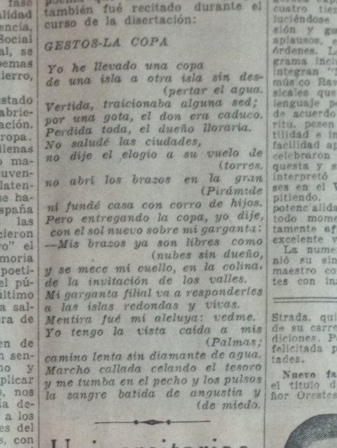 El texto fue publicado por La Capital el 3 de abril de 1938 en la página 14 de la segunda sección.