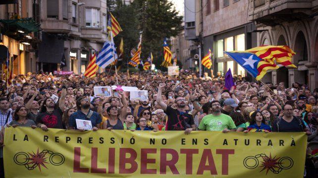 Protesta. Los separatistas manifestaron ayer en Sabadell.
