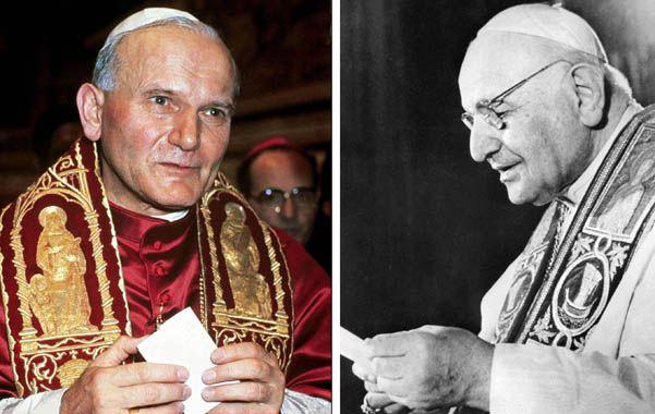 Dos papas. El polaco Juan Pablo II y el italiano Juan XXIII