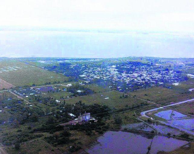 desde el aire. La laguna de Melincué colecta el agua de distritos vecinos.