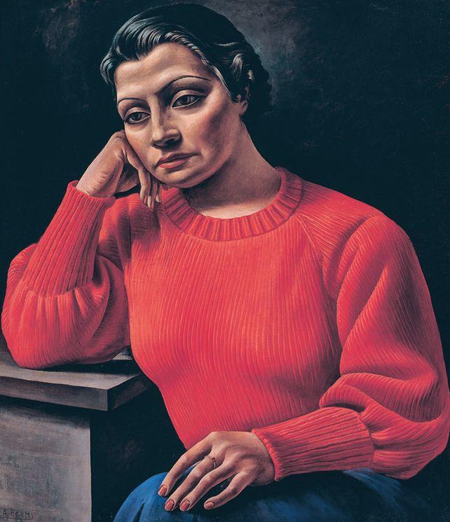 La mujer del sweater rojo
