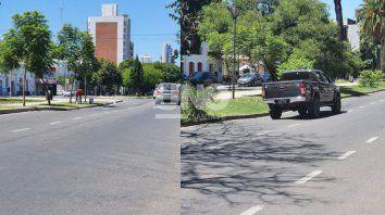 Los hundimientos sobre la carpeta asfáltica en el carril sur de Bulevar, se registran al 3.100, a la altura del Ministerio de la Producción, y al 1.600, frente a la Plaza Pueyrredón.