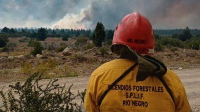 A la distancia. Un operario rionegrino observa el desarrollo de las llamas en el horizonte.