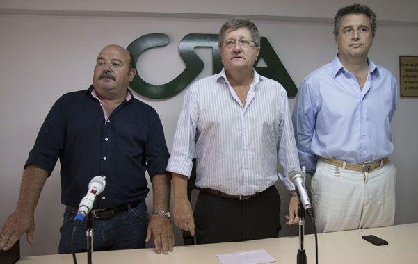 protesta. Los presidentes de Coninagro