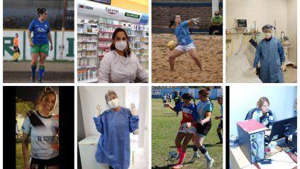 Así en la cancha como en sus profesiones. Las mujeres rosarinas que son futbolistas y mientras esperan que la pelota vuelva a rodar cumplen un rol vital en medio de la pandemia.