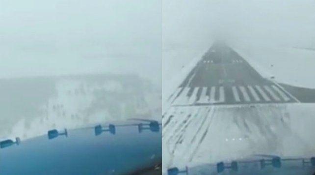 Complicado descenso de un avión en medio de  la nieve