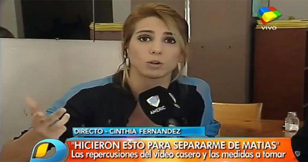 Cinthia Fernández dijo que el video fue para separarla de Defederico