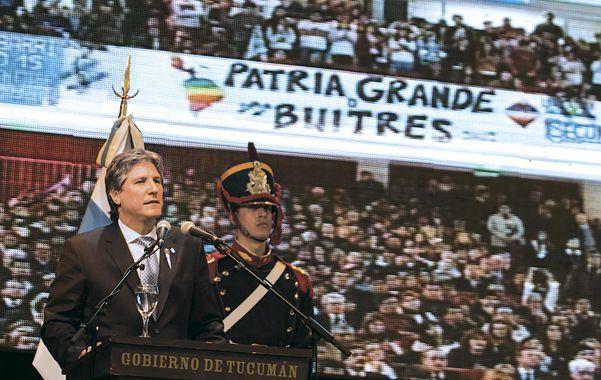 El orador. Amado Boudou debió encabezar el acto en Tucumán por el cuadro clínico de faringolaringitis de Cristina.