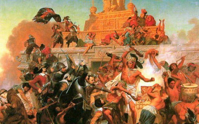 La caída de Tenochtitlán a manos de las tropas españolas en una pintura académica del siglo XIX.