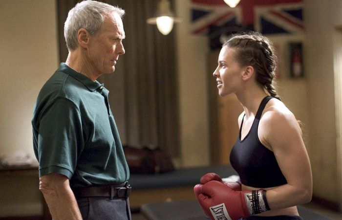 Hilary Swank junto a Clint Eastwood en una escena de Million Dollar Baby.