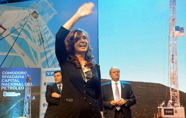en el sur. La presidenta participó del lanzamiento de un yacimiento de YPF.