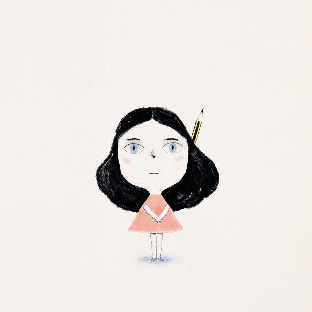 Una niña y un lápiz