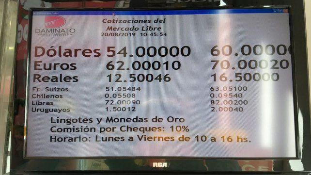 La cotización del dólar en Rosario.
