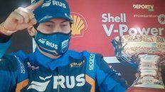 Pedro Boero celebra en el podio de San Nicolás su segunda victoria en el TC Pista, la primera del año que lo mete en la pelea.