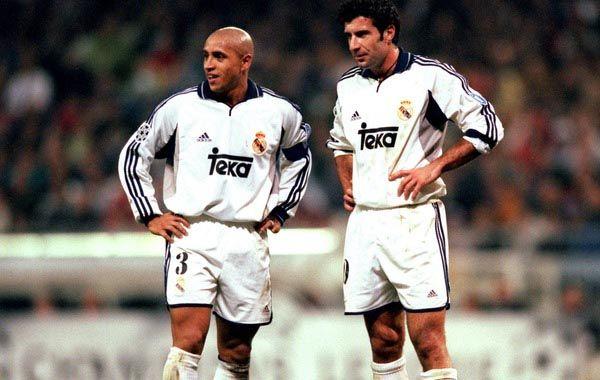 Roberto Carlos y Luis Figo