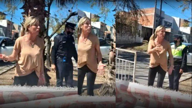 La furia de la funcionaria del Ministerio de Desarrollo Social de Salta contra los manifestantes. (Foto: Captura de video)