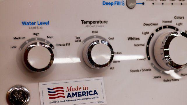 Made in America. Un lavarropas de General Electric destaca que fue fabricado en EEUU.