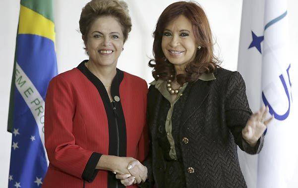 Cumbre. Dilma Rousseff y Cristina Fernández de Kirchner