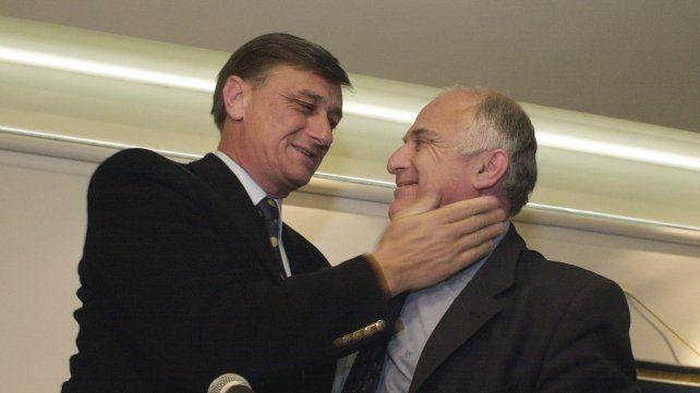 09/09/03 Hermes Binner junto a Miguel Lifschitz en la conferencia de prensa donde se proclama intendente de Rosario. Foto: Gustavo de los Rios