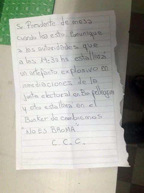 Filtran la carta con la amenaza de bomba al búnker de Cambiemos