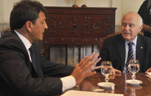 Massa y Lifschitz se reunieron en la Gobernación y hablaron de una agenda común. (Virginia Benedetto / La Capital)